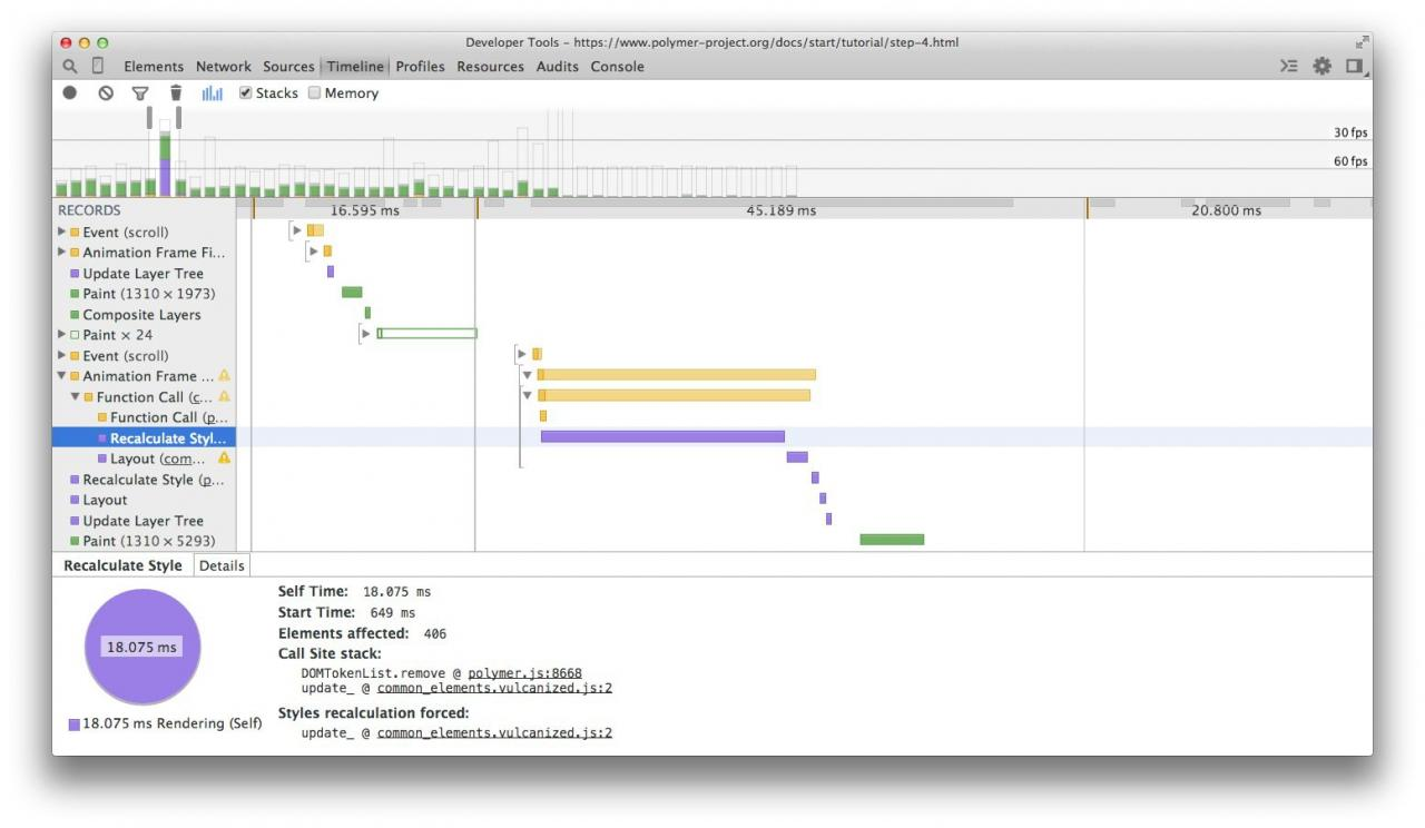 DevTools showing long-running style calculations.
