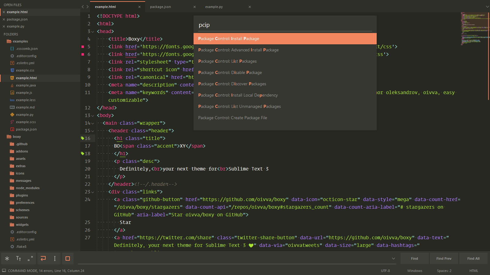 Boxy,Sublime Text 3 主题